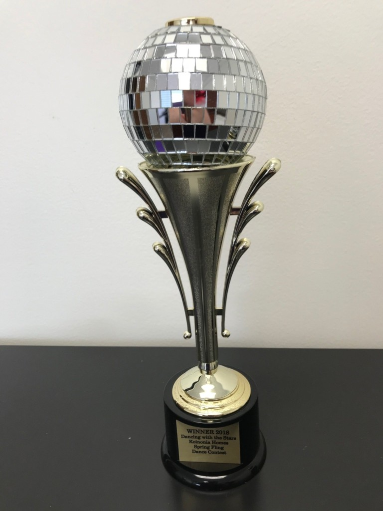 One lucky person will win the coveted Mirror Ball Trophy at the 2018 Koinonia Homes & CrossCountry Mortgage Spring fling dance.