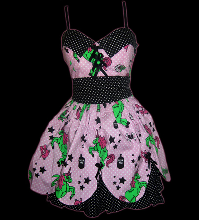 item of the week : pink zombie unicorn dress by hell bunny