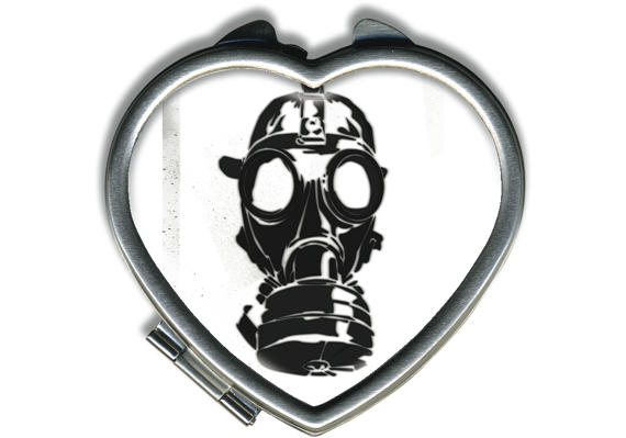 item of the week : gas mask heart compact by retro-a-go-go