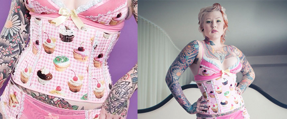 item of the week: pink gingham cupcakes corset by Purrfect Pineapples