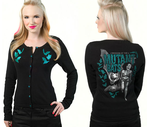item of the week : mutant bats cardigan by Sourpuss Clothing