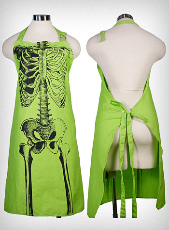 item of the week : spooky x-ray skeleton bones apron from Plasticland