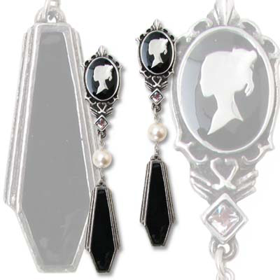 item of the week : coffin drop cameo earrings by Alchemy Gothic