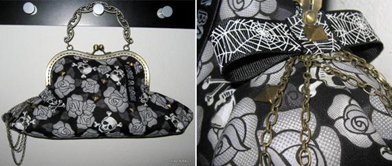 item of the week : skulls wine & roses kiss lock purse by IHazABag