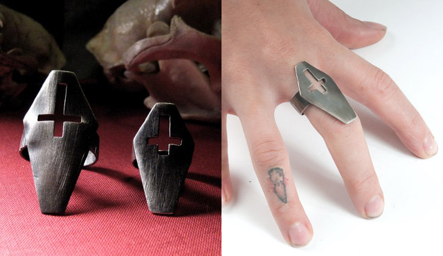 item of the week : RTS Inverted Cross Coffin Ring by Adelina Mictlan