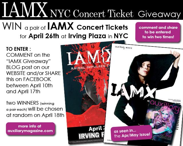 contest : IAMX Concert Ticket Giveaway