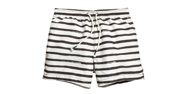 item of the week : Black White Striped Swim Shorts by H&M