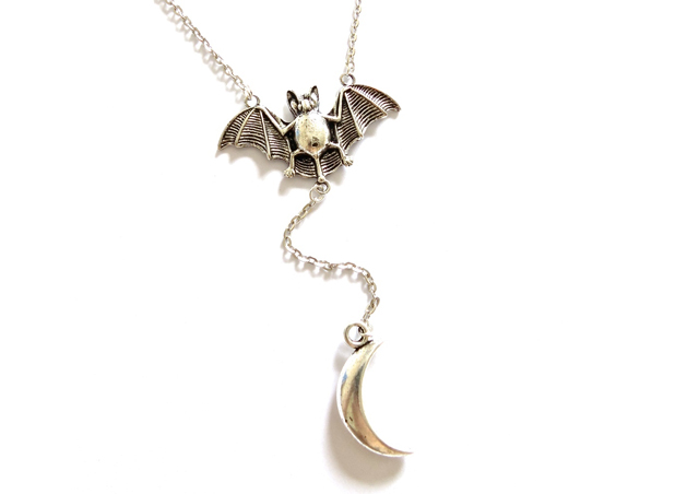 Empty Casket Bat & Moon Necklace