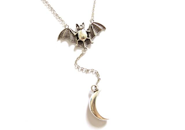 Empty Casket Bat & Moon Necklace