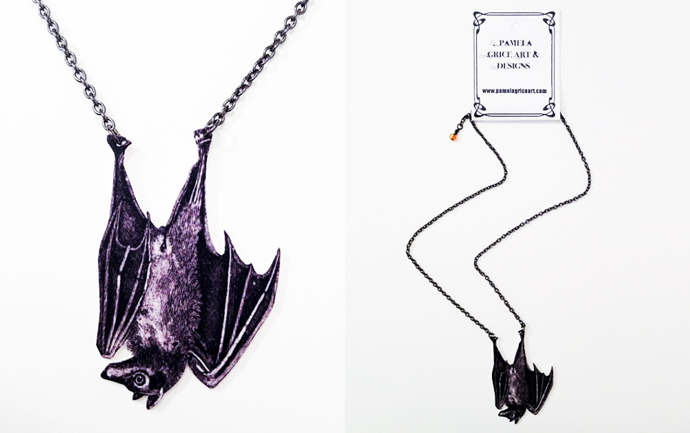 item of the week : Hanging Bat Necklace by Pamela Grice Art