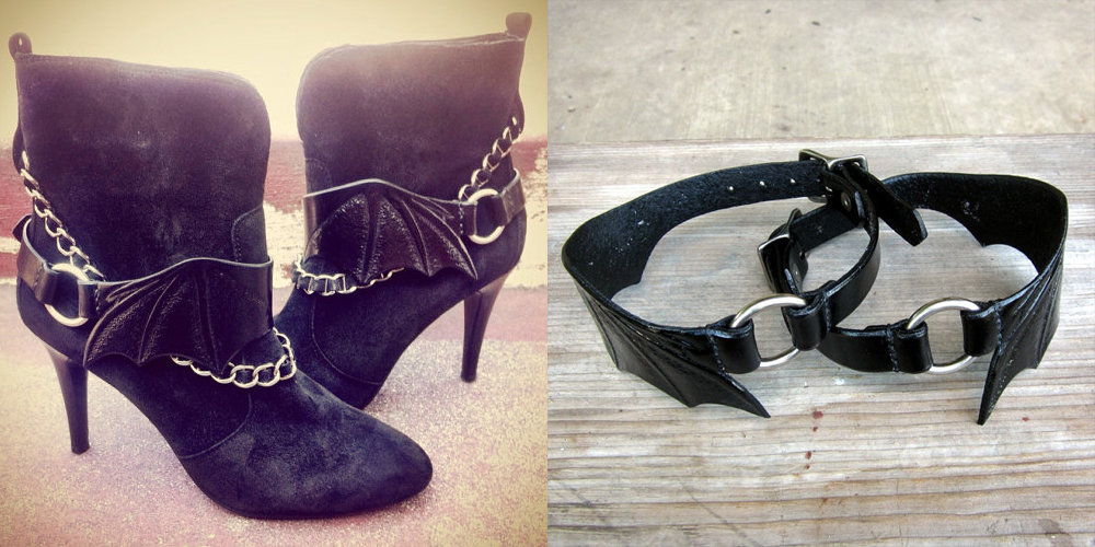 item of the week : Bats Wing Leather Boot Straps by Contrived to Charm