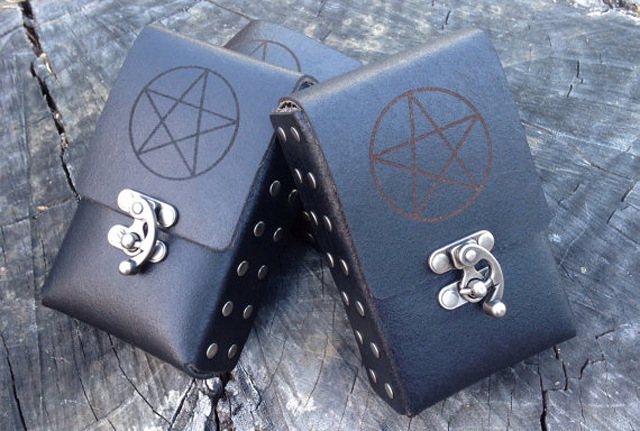 Pentacle Etched Leather Tarot Cards Case by Contrived to Charm
