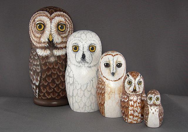 Owl Nesting Dolls Set by Savage Artworks