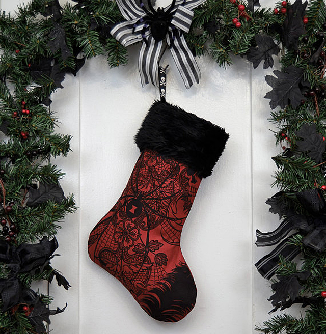 Dark Red Christmas Stocking by Working Class Punx
