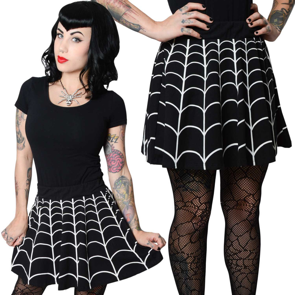 Kreepsville 666 Web White Skater spiderweb skirt