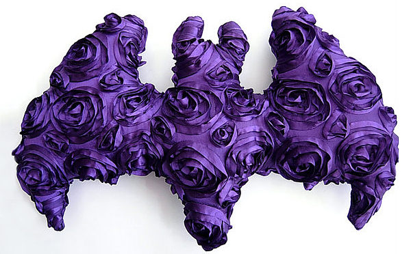 Purple Satin Rosette Bat Pillow by Kambriel