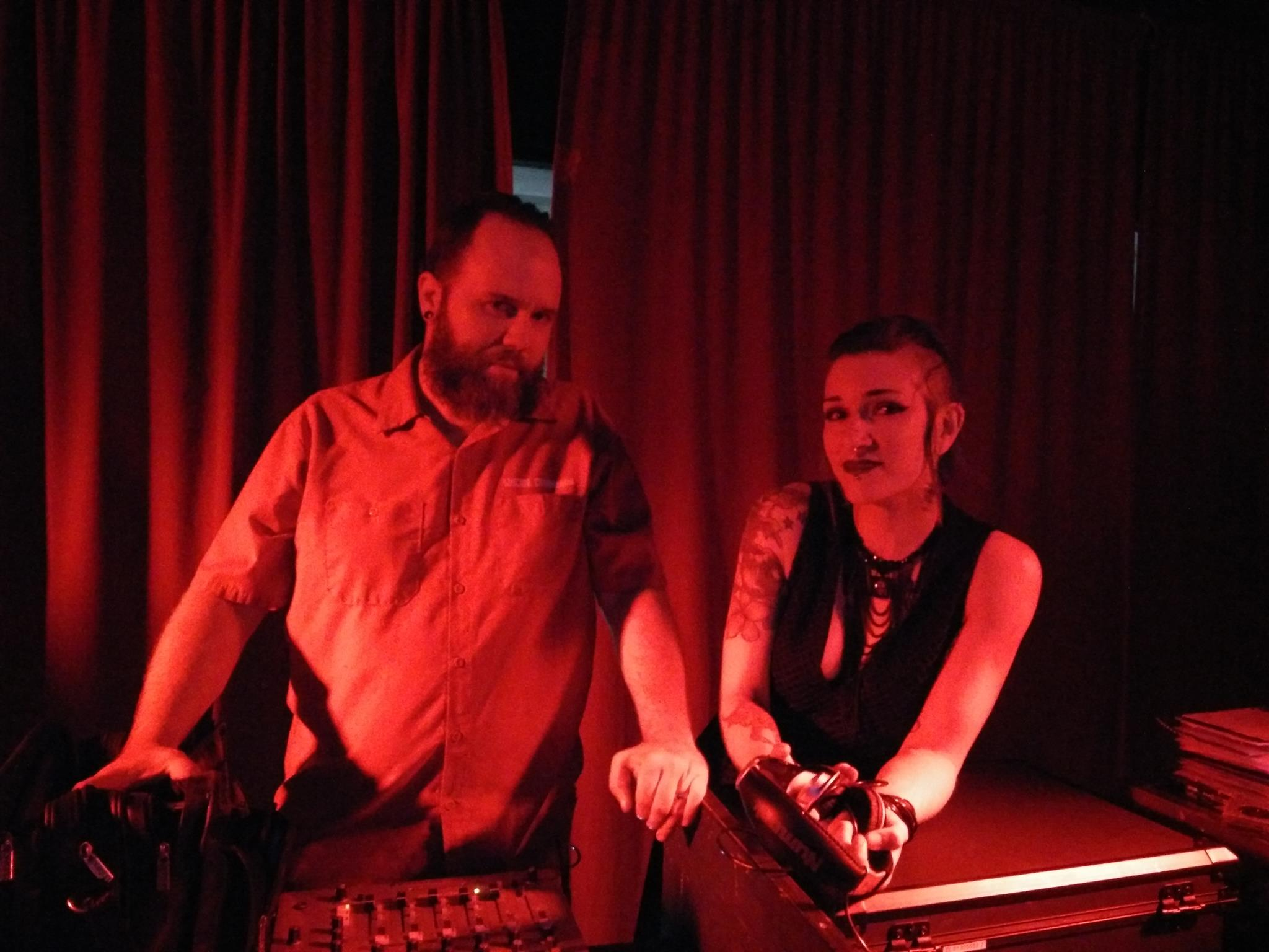 DJ the Wasteland on the left, DJ Mistress McCutchan on the right