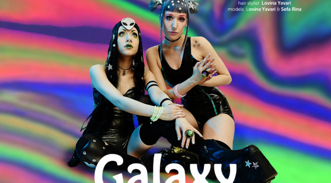 Galaxy fashion editorial featuring Raezor Latex