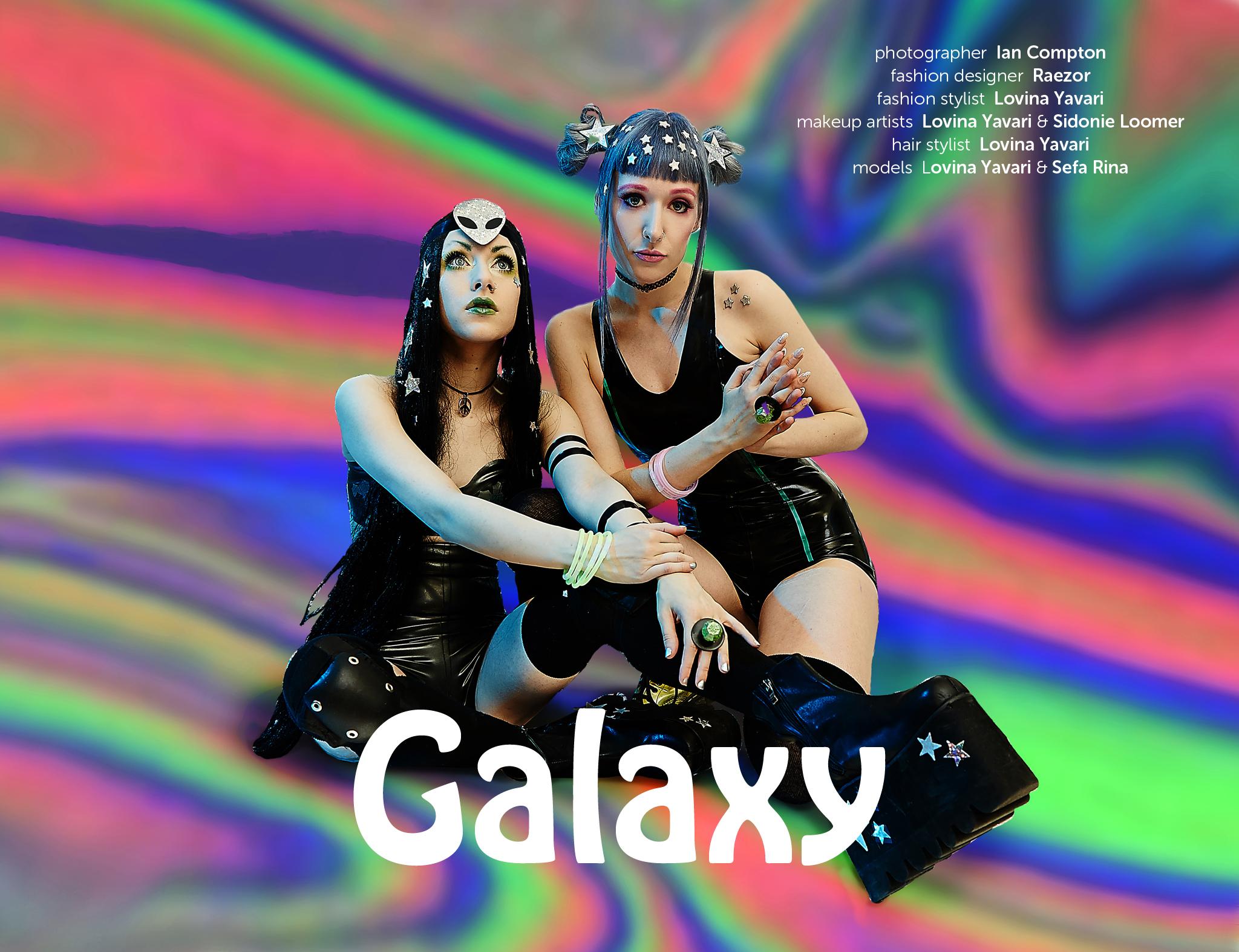 Auxiliary Galaxy Fashion Editorial featuring Raezor Latex