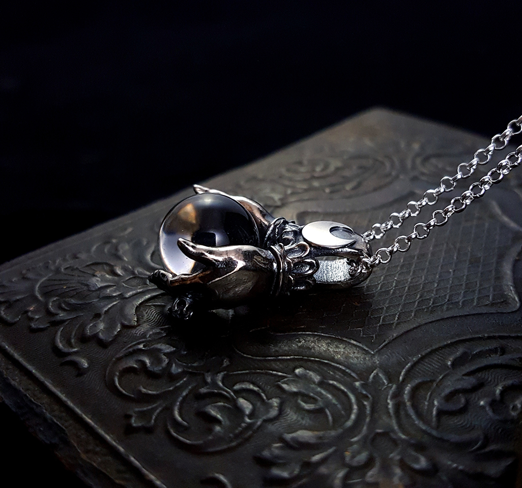 dark goth everyday necklace Oracle Pendant by Omnia