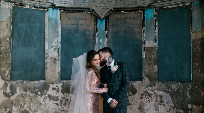 Nina and Jack's real pink sequined alternative wedding