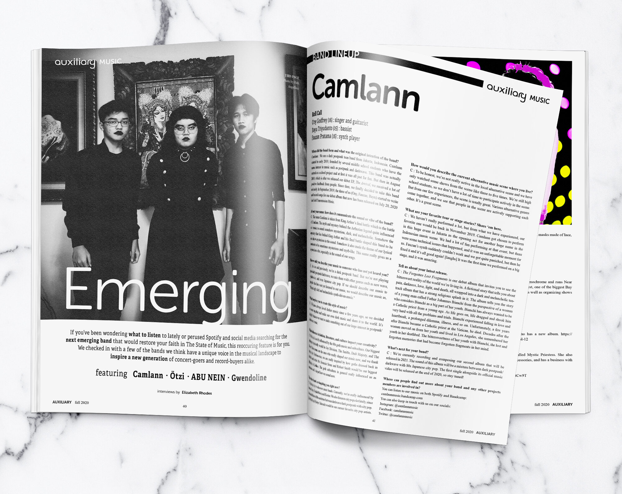 Auxiliary Magazine Emerging interview with Jakarta-based post-punk band Camlann