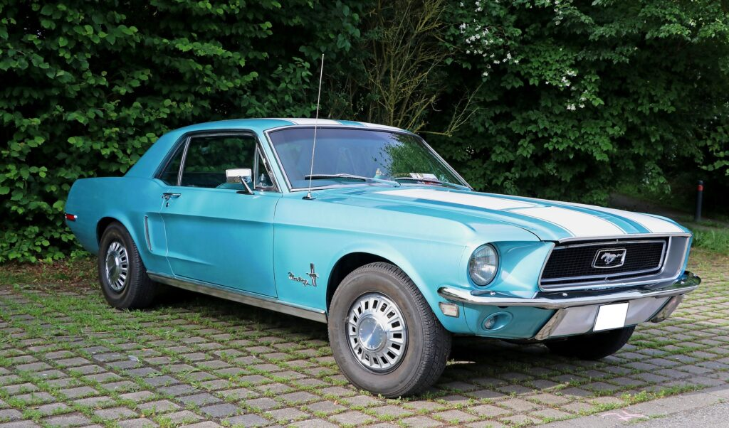 old blue mustang