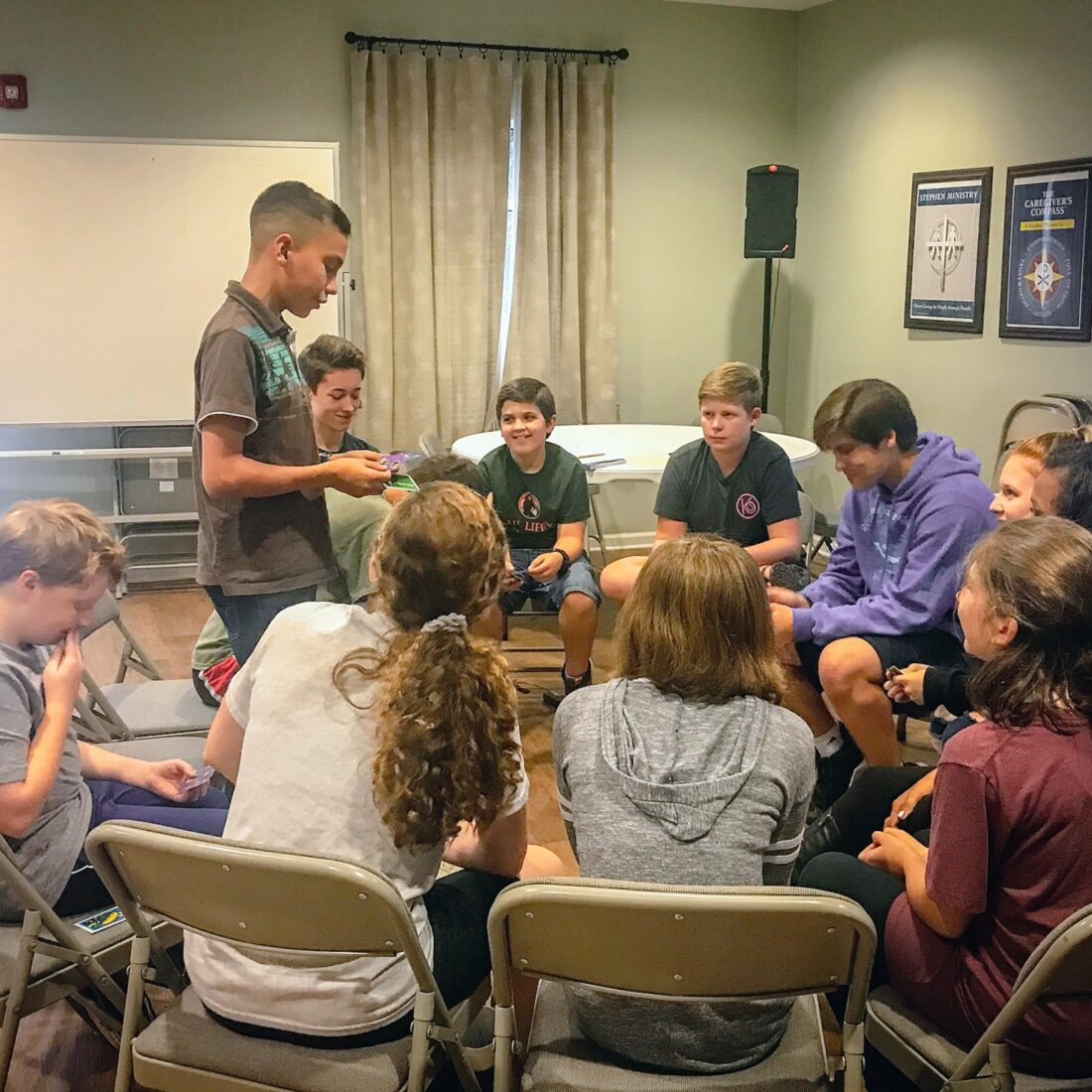 Debate students play a game to hone their improvisation skills at Learn Together Lowcountry homeschool co-op in Bluffton SC
