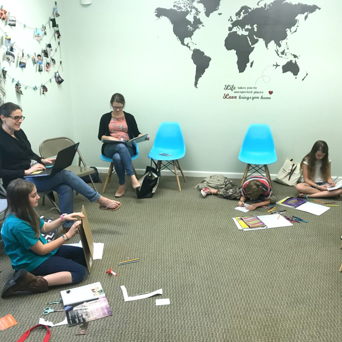 There are always two adults per room, even in study hall at Learn Together Lowcountry homeschool co-op in Bluffton SC