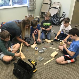 The robotics class works on a project at Learn Together Lowcountry homeschool co-op in Bluffton SC