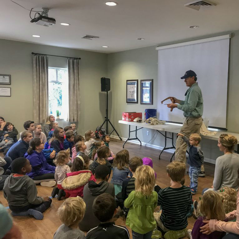 Tony Mills leads a weekly wow workshop on local animals at Learn Together Lowcountry homeschool co-op in Bluffton SC.