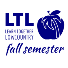 This is the fall enrollment sign for Learn Together Lowcountry homeschool co-op in Bluffton SC