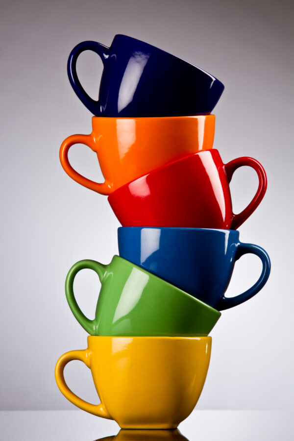Stacked Colorful Coffee Cups