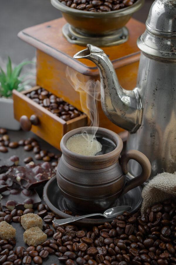Turkish Coffee with antique bean grinder