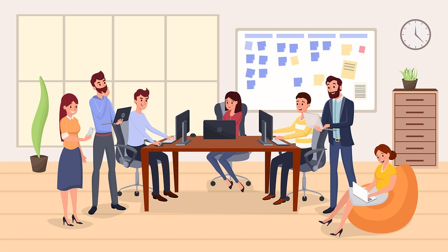 Colleagues Group Meeting Flat Vector Illustration. Smiling Peopl