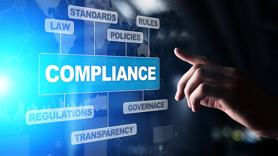 Compliance Concept With Icons And Text. Regulations, Law, Standa