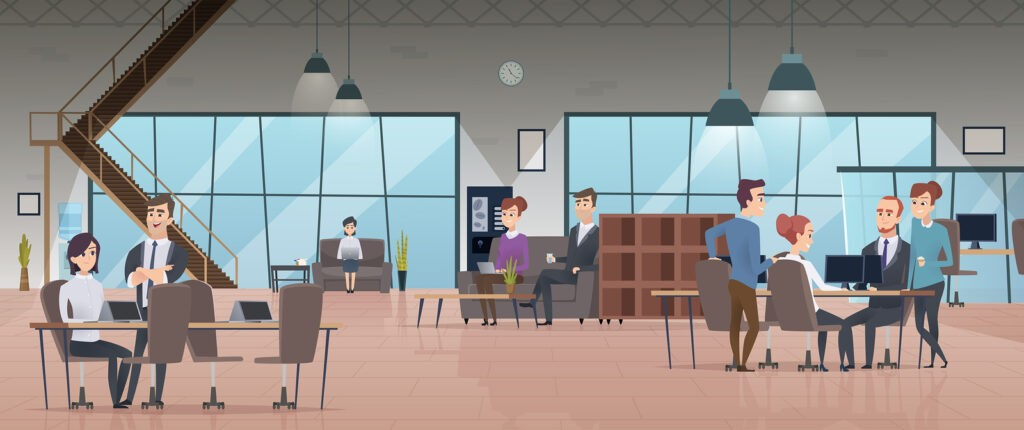 Open office interior. Business people workspace corporate working characters vector modern office