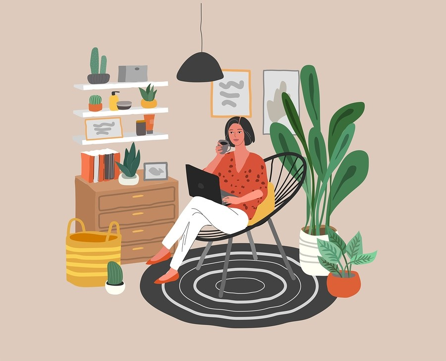 Cute Woman Sitting On Chair With Laptop In Cozy Scandinavian Hom