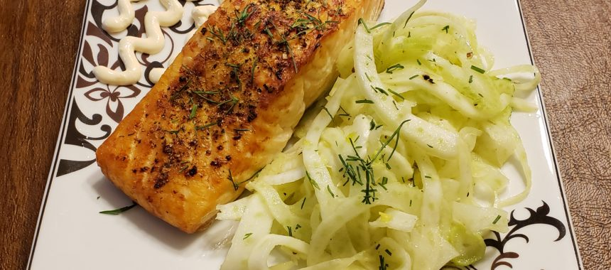 Air Fried Salmon with Fennel Salad & Garlic Chili Ricotta Sauce