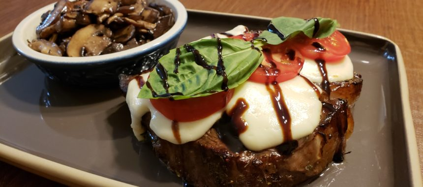 Air Fried Caprese Ribeye with Truffle Baby Bellas