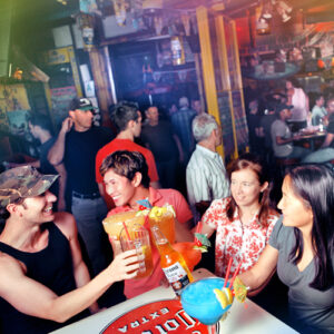 The crowd cheersing drinks at Fiesta Cantina Weho