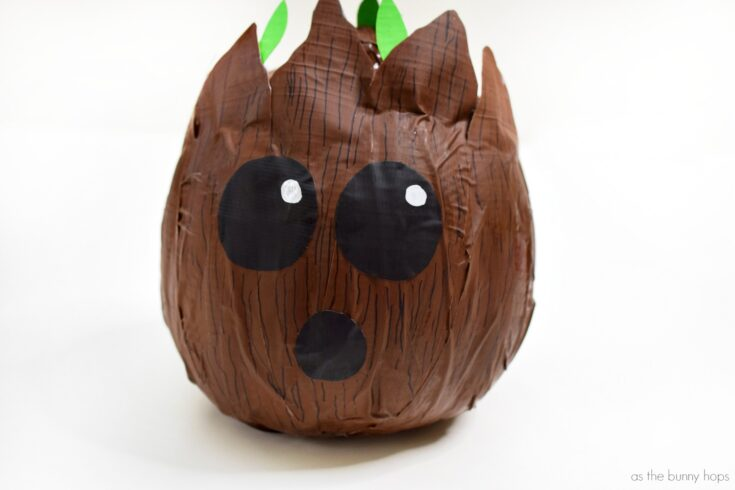 Make An Easy Baby Groot Pumpkin With Duct Tape!