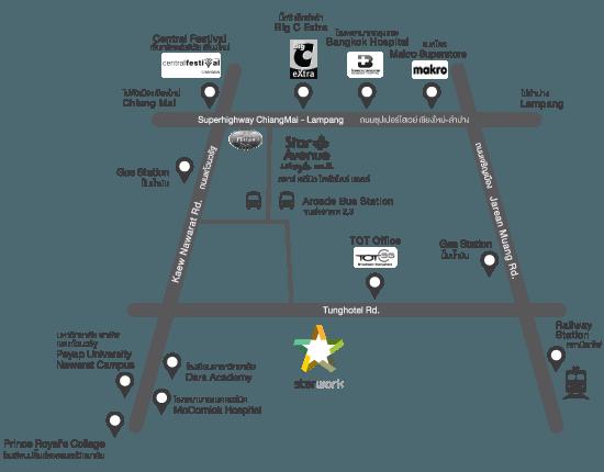 แผนที่โครงการ Starwork Chiang mai