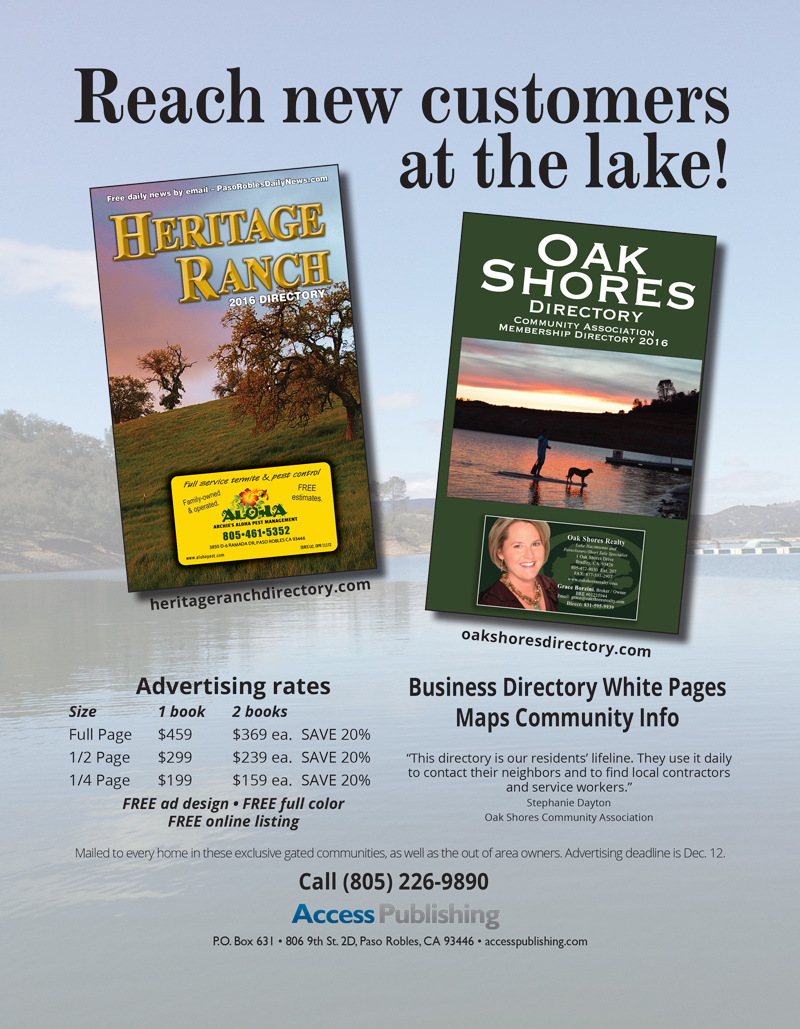 Advertising information for the Heritage Ranch Directory and Oak Shores Directory.