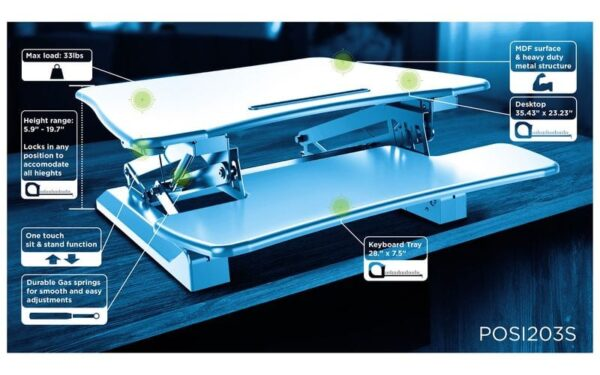 posidesk POSI203 medium executive sit stand desk specs