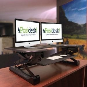 posidesk POSI209BK sit stand desk with retractable keyboard tray 2