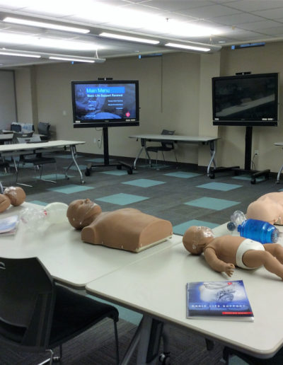 Photograph of a BLS class room set up