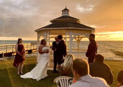 The reflections of a sunset wedding that took place at Elope Up North.