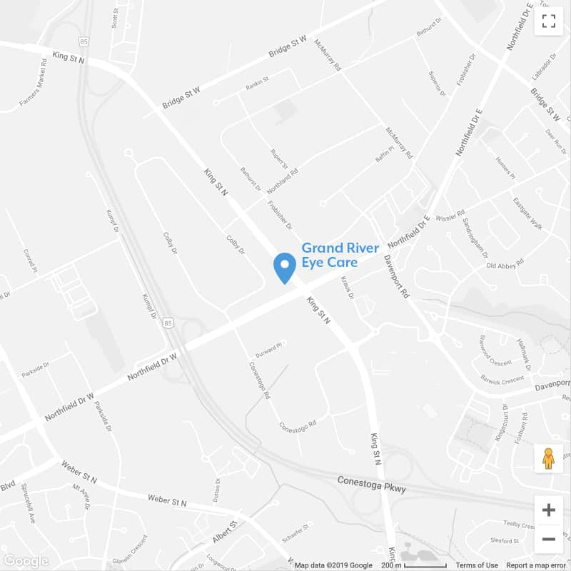 Map to Optometrists in Waterloo