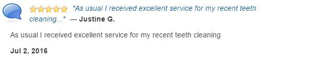 As usual I received excellent service during my recent teeth cleaning.